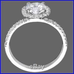 1.35 Ct Round Cut Diamond Engagement Ring F/SI1-SI2 14K White Gold Enhanced