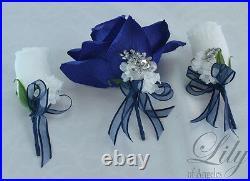 17 Piece Package Silk Flower Wedding Bridal Cascade Bouquet NAVY BLUE SILVER
