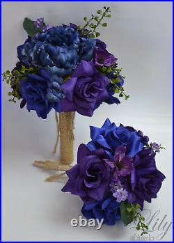 17 Piece Package Wedding Bridal Bouquet Silk Flower NAVY DARK BLUE PURPLE RUSTIC