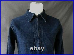 1940's Denim WW2 Popover 1940's Vtg Denim Zip Shirt USN type Denim Shirt Sz S