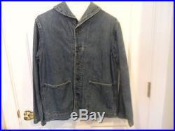 1940s WWII 2 Shawl Collar Denim Deck Jacket Vintage USA Navy Military