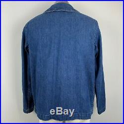 1940s WWII US Navy Denim Jacket Blue Shawl Collar Chore Pockets Original Buttons