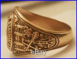 1943 10K Naval Air Station Aviator Class Ring WW2 USN Navy Gold Pensacola Fl