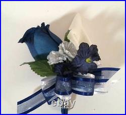 21 Piece Package Navy Blue Burgundy Calla Lily Bridal Bouquet
