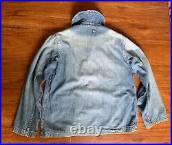 40s Vintage US Navy Seabees Shawl Collar Selvedge WW2 Denim Uniform Jacket Boro