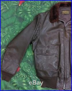 50s USN Intermediate G1 Flight Jacket Vintage Vtg LW Foster Leather Rare 782342
