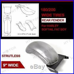 9 REAR CUSTOM FENDER Fit 180-200 WIDE TIRE STRUTLESS For HARLEY SOFTAIL FAT BOY