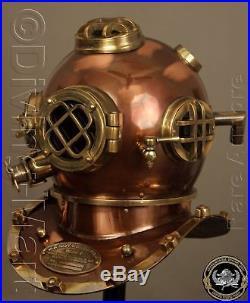 ANTIQUE U. S NAVY MARK V SOLID STEEL & Iron DIVING DIVERS HELMET FULL 18 GIFT