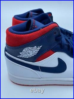 Air Jordan 1 Mid SE USA Olympic White Navy Blue Red Men's and Gs 852542-104