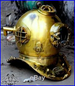 Antiaue Brass Diving Helmet U. S Navy Mark V Deep Sca Divers Helmet Scuba Morse
