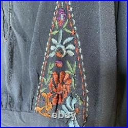 Antique 1920s Navy Blue Peasant Blouse Floral Embroidery Dress Shirt Vintage