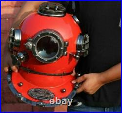 Antique Black Boston Diving Divers Helmet Deep Scuba Boston Divers Navy Mark