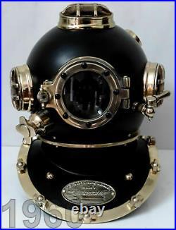 Antique Black Scuba Diving Helmet Navy London Sea Boston Vintage Divers Helmet