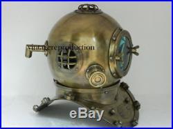 Antique Brass Diving Divers Helmet U. S Navy Mark V Reenactment Chritmas Gift