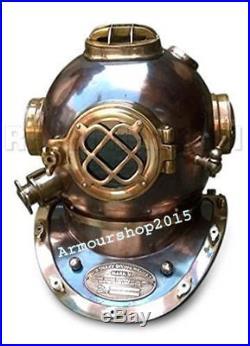 Antique Copper Brass U S Navy Mark V Made 18 Diving Divers Helmet