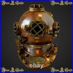 Antique Diving Helmet U. S Navy Mark V Deep SCA Scuba Brown Antique Divers Helmet