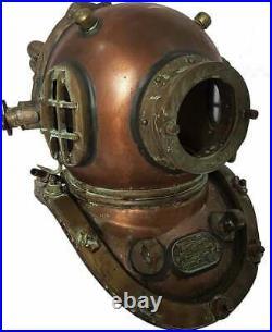 Antique Maritime Brass Deep Diving Helmet Mark V US Navy Nautical Collectible Gi