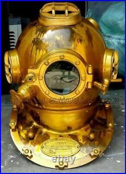 Antique Morse Vintage Diving Helmet Brass Scuba Boston Divers Navy Mark Divers
