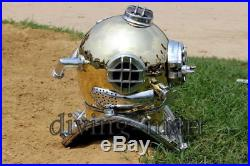 Antique Reenactment Nautical Morse U. S Navy Diving Helmet Solid Brass & Aluminum