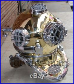 Antique Reenactment Nautical Solid Brass & Aluminum Morse U. S Navy Diving Helmet