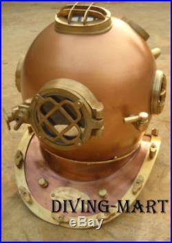 Antique Replica Diving Divers Helmet Solid Copper & Brass 18' U. S Navy Mark V