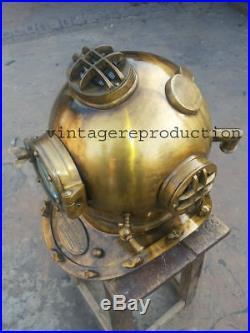 Antique Scuba SCA Divers Diving Helmet U. S Navy Mark V Deep Sea Marine Divers