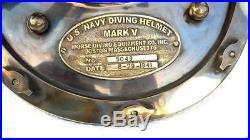 Antique U. S Navy Brass Divers Diving Helmet Mark V FULL SIZE Deep sea Scuba gif
