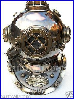 Antique U. S Navy Brass Divers Diving Helmet Mark V FULL SIZE Deep sea Scuba gift