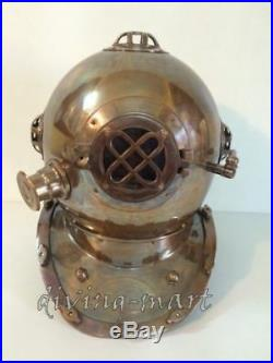 Antique U. S Navy Mark V Divers Helmet Solid Steel & Brass Full Size Gift