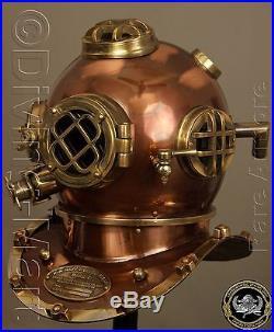 Antique U. S Navy Mark V Solid Steel & Brass Diving Divers Helmet Full 18 Gift