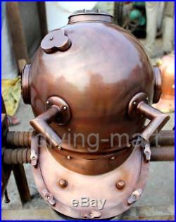 Antique U. S Navy Mark V Solid Steel V. Brown Diving Divers Helmet