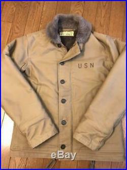 BUZZ RICKSON US Navy N 1 DECK JACKET Khaki Size Small 50's Japan military USN
