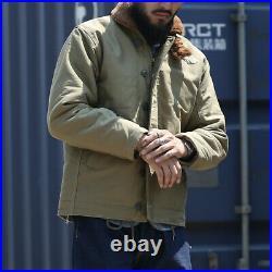 Bronson USN Submarine N-1 Deck Jacket Winter Men Military Wool Lined Coat Khaki