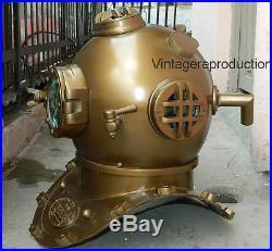 Brown antique 18 diving divers helmet U. S navy mark V Deep Sea vintage replica