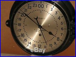 CHELSEA U. S. NAVY SHIPS CLOCK 8 1/2 IN1961VIETNAM WAR ERA24 hr. DIALRESTORED