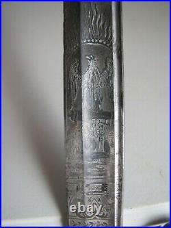 Civil War Model 1852 USN US Navy-Naval Officers Etched Sword withScabbard