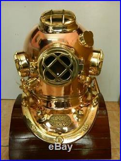 Copper Antique Vintag Brass Scuba Deep Sea Diving Divers Helmet Mark V U. S Navy