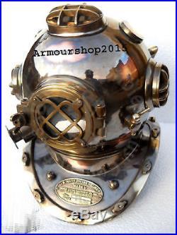 Copper Brass Made 18'' Antique U S Navy Mark V Diving Divers Helmet