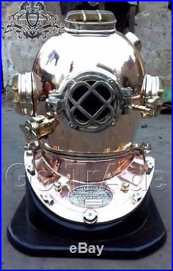 Copper & Brass U. S Navy Boston Mass Double Rings Diving Divers Helmet Sea Scuba