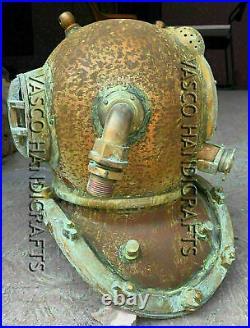Copper Brass Vintage Diving Helmet US Navy Boston Mark Antique SCA Marine Scuba