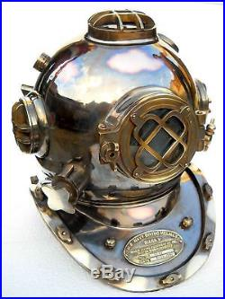 Copper Vintage Nautical Morse U. S Navy Diving Helmet Solid Brass Antique Scuba