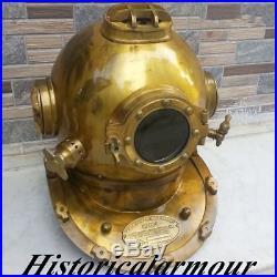 Deep Sea Desk Decor Diving Divers Helmet Solid Iron Brass U. S Navy Mark V 18