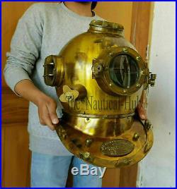 Diving Helmet U. S Navy Mark V Deep Sea Antique Scuba Vintage 18 Divers Helmet