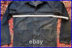 Double RL / RRL USN Style Denim Jacket With Selvedge Denim Size Medium