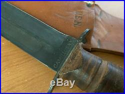Early Screw Pommel Ww2 Camillus Usn Mk2 Bowie Knife & Usn Marked Leather Sheath