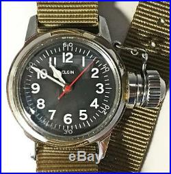 Elgin military waterproof USN BUSHIPS manual winding analog working 29 29mm