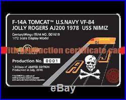 F14A Tomcat USN VF-84 Jolly Rogers, AJ200, USS Nimitz, 1978 001619 Century Wings