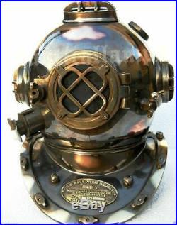 Full Size Antique U. S Navy Brass Divers Diving Helmet Mark V Deep sea Scuba gift
