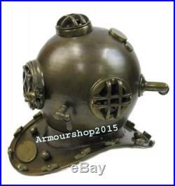 Full Size U. S. Navy Mark-V Antique Brass Aluminum Diving Helmet Replica