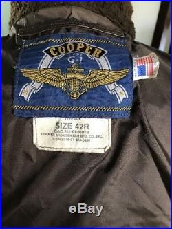 G-1 Cooper Leather Flight Jacket USCG USMC Marines USN 42R Large NiceReal